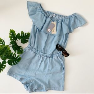 Splendid Off Shoulder Chambray Romper